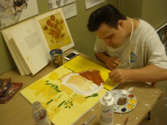 Dylan working on a study of his favorite artist, Van Gogh
