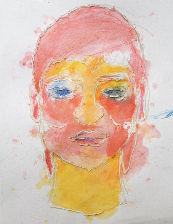 Watercolor and hot glue portrait
